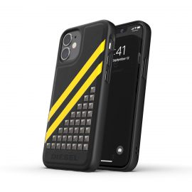 【取扱終了製品】DIESEL Premium Leather Studs Case SS21 iPhone 12 mini Black/Yellow