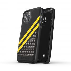 DIESEL Premium Leather Studs Case SS21 iPhone 12 / 12 Pro Black/Yellow